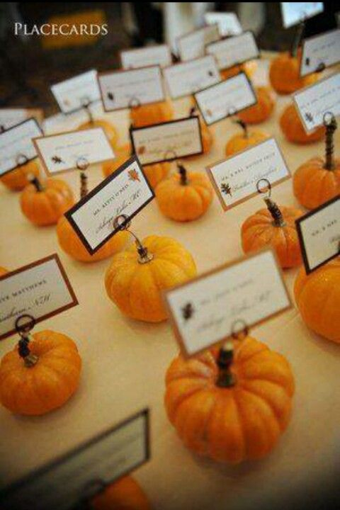 Fall wedding- Pumpkin Place cards! #fall White pumpkins instead of orange with gold glitter