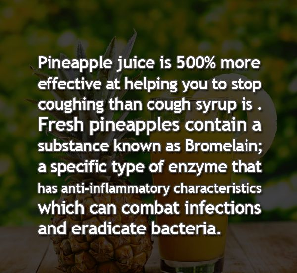 You never want to suppress a cough. It's the body's method of elimination--this is how the body clears out the lungs. Pineapple juice is a safe and delicious way of soothing a cough. It's high in nutrients, bromelain, it's alkaline in the body, which is what makes it anti inflammatory, and aids in healing. Eat better: http://www.amazon.com/EAT-Empower-Adjust-Triumph-Ridiculous/dp/0744304849