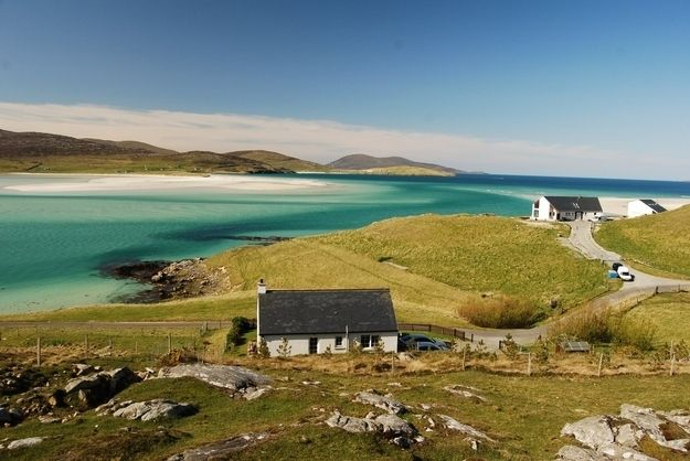Far, far away from anywhere you're likely to be - just behind the back of beyond and somewhere near BFE - lies Luskentyre beach on the Isle of Harris, where white sand fringes empty landscapes and nothing much has changed in millions of years.