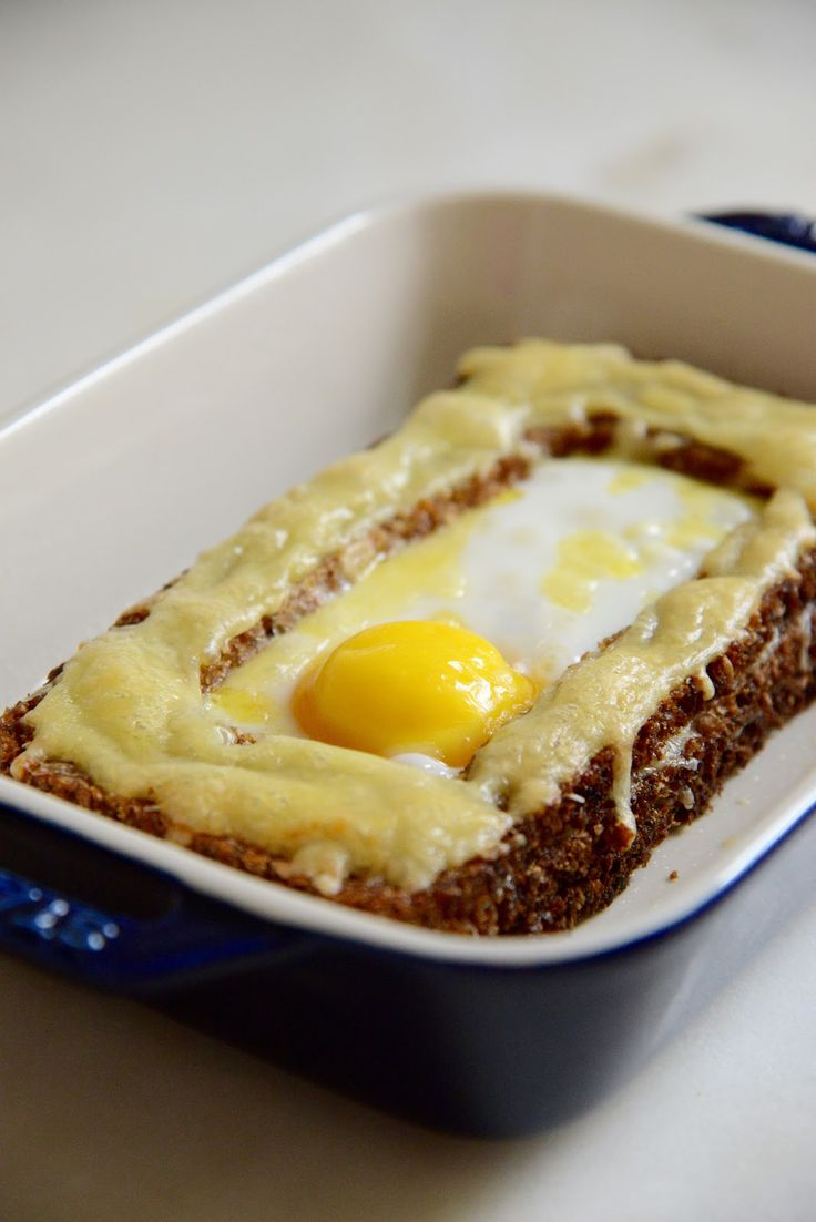 A healthy take on the Croque Madame, using rye bread.