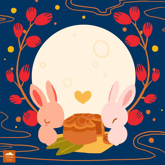 Doodle Collection of September 2014 — Thousand Skies. Mid Autumn Festival. Mooncakes & rabbits.
