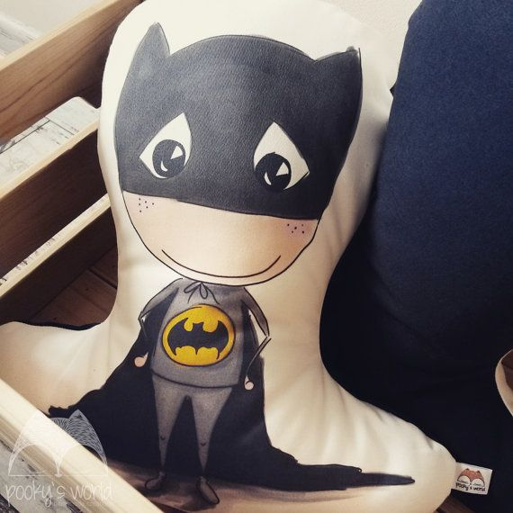 Pillow with author's illustration Batman  by Pookysworld on Etsy