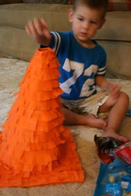 The Domestic Notebook: Construction Themed Birthday Party: Pinata Tutorial