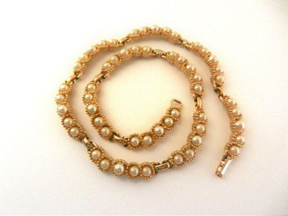 Mid-century Vintage Pearl Bridal Necklace  by RAKcreations on Etsy