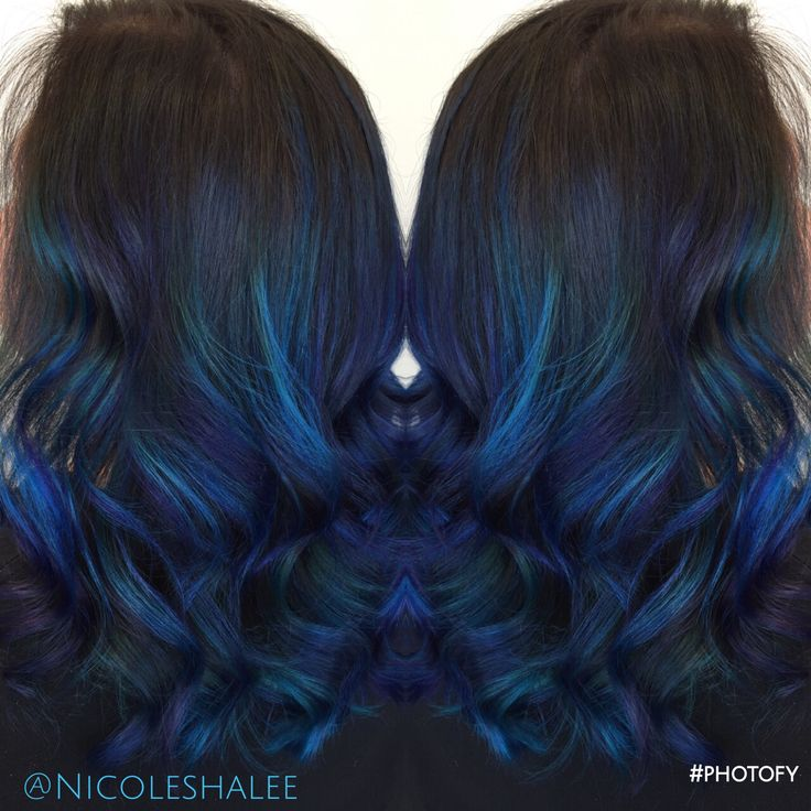 Blue color melt, blue hair, ombre, medium length hair, beach waves, curled hair, shadow root, mermaid hair, pravana vivids, Kenra color, hair painting, bayalage