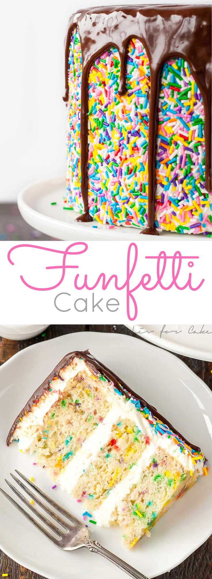 This sprinkle studded vanilla cake is paired with a fluffy cream cheese frosting and topped with a rich dark chocolate ganache.   livforcake.com