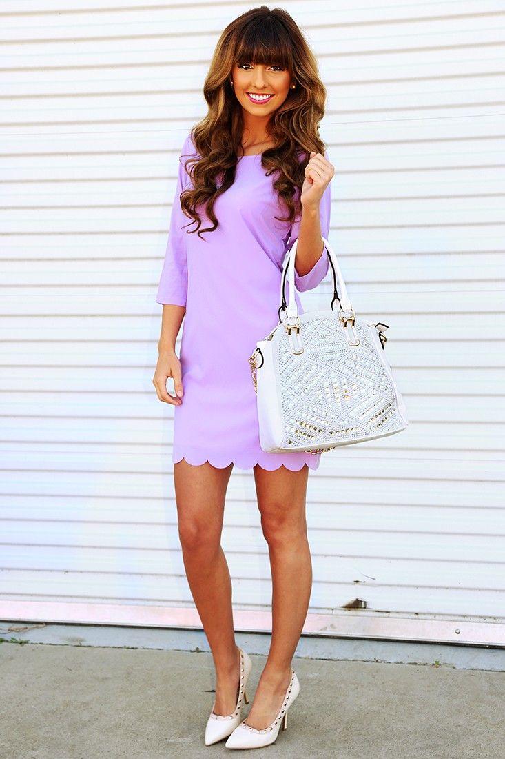 Cute & Conservative Dress: Lavender #shophopes #scallops