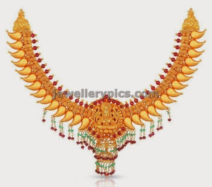 malabargold antique mango necklace with lakshmi devi locket