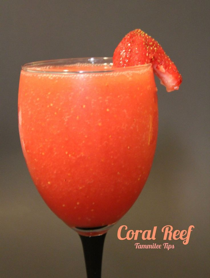 Coral Reef: 1.5 oz vodka, 2 oz Malibu rum, 6 strawberries. Blend all with ice, serve in goblet.