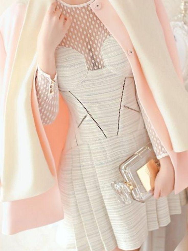Luxurious White Dot Mesh Plane Party Dress | abaday