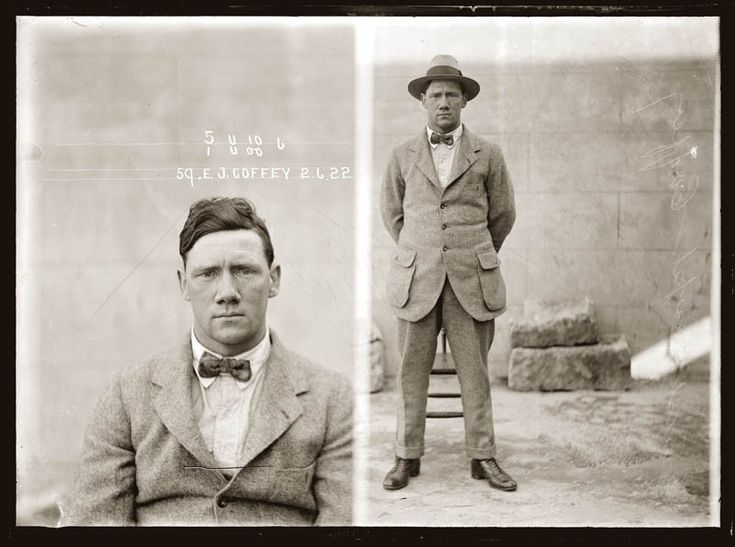 Australian vintage mugshots from the 1920s...pretty amazing some have the crimes they committed.  huge patch pockets on jacket