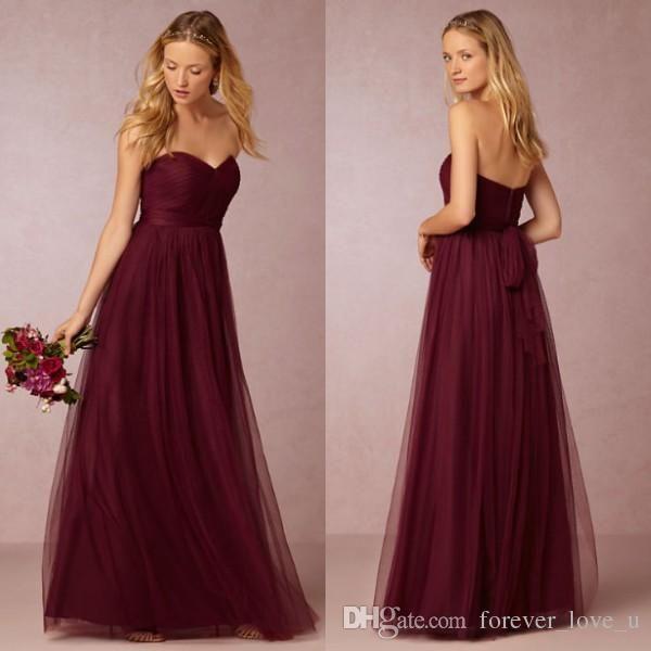 Elegant  Vintage Country Bridesmaid Dress Long Formal Burgundy Maroon Dark Red Tulle Maid Of Honor Gowns