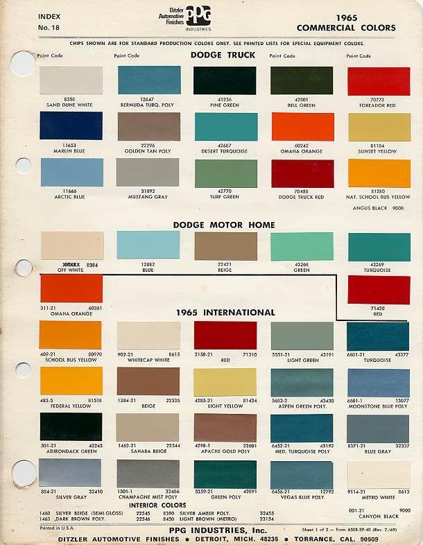 Automotive Paint Color Codes   Original Color International Scout - Binder Bench
