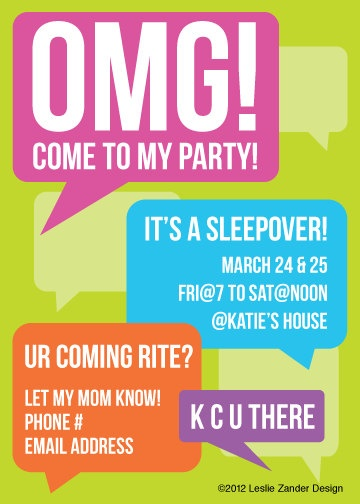 personalized OMG teen/tween birthday party by LeslieZanderDesign, $12.99