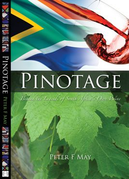 This cover and spine is for a self published Pinotage wine book by Peter May. Pinotage is a South African wine and to reinforce that message I combined photos of a billowing South Africian flag and wine flowing into a glass, as well as details of African beadwork on the spine.