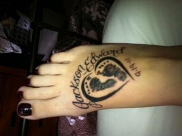 Heart Shape Footprints - Cute Baby Footprint Tattoos, http://hative.com/cute-baby-footprint-tattoos/,