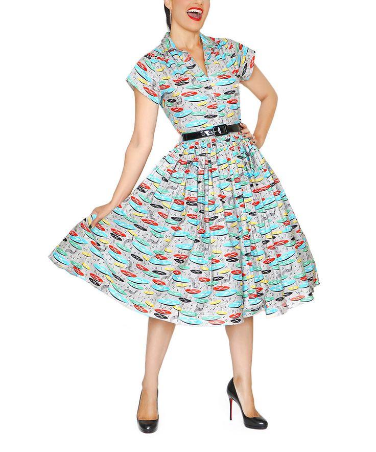 Look what I found on #zulily! Bernie Dexter Blue & Gray Records A-Line Dress - Plus Too by Bernie Dexter #zulilyfinds