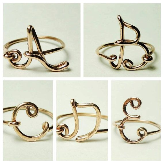 Custom Copper wire, Letter initial ring,.    ALL INITIAL CAPITAL AVAILABLE    choose your initial, handmade, nice wire wrap ring,    All rings are