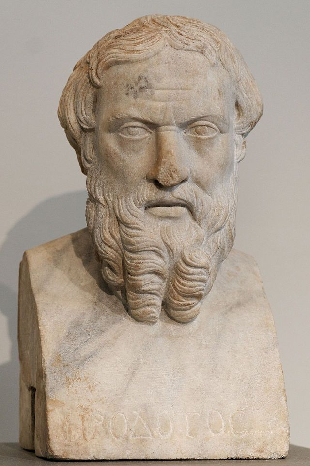 Herodotus (/hᵻˈrɒdətəs/; Ancient Greek: Ἡρόδοτος Hēródotos, pronounced [hɛː.ró.do.tos]) was a Greek historian who was born in Halicarnassus, Caria (modern-day Bodrum, Turkey) and lived in the fifth century BC (c. 484–c. 425 BC)