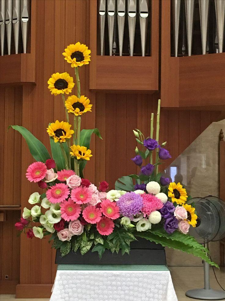 2017.11.05 主日插花 02 Flower arrangements for the church  教会のフラワーアレンジメント