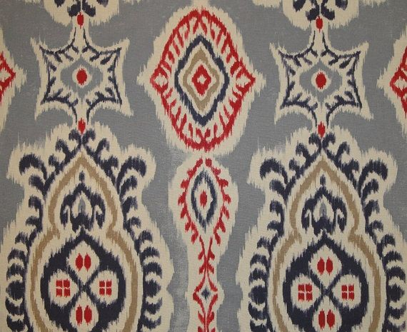 Ikat Decorative Pillow Cover  Blue Red Off White by TeaOliveLiving