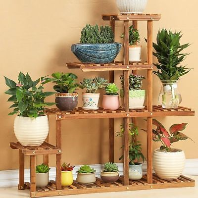 Wooden Plant Stand Flower Pot Display Planter Home Decor Rack Storage Shelf Vase