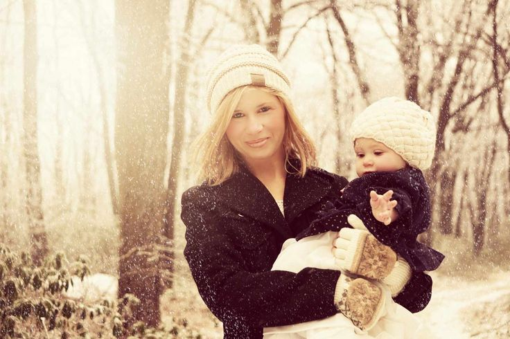 Mother and daughter. winter outdoor photography.