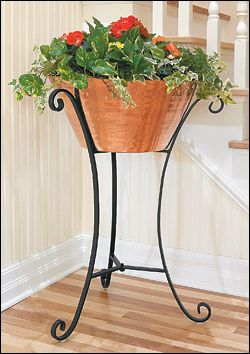 "$150 Copper Ice Bucket/Planter - Lee Vallye Gardening - This attractive, high-quality copper bucket comes with its own wrought-iron stand. Filled with ice, it is perfect for keeping beverages cool indoors or out. It also makes a very nice indoor planter (a large potted fern looks outstanding in it). Bucket measures 20"" in diameter by 10"" high, and 33"" tall on the stand. Turkey. Handmade. *This might make a pretty water fountain w/ just copper container? Drill hole in base or put small recirc"