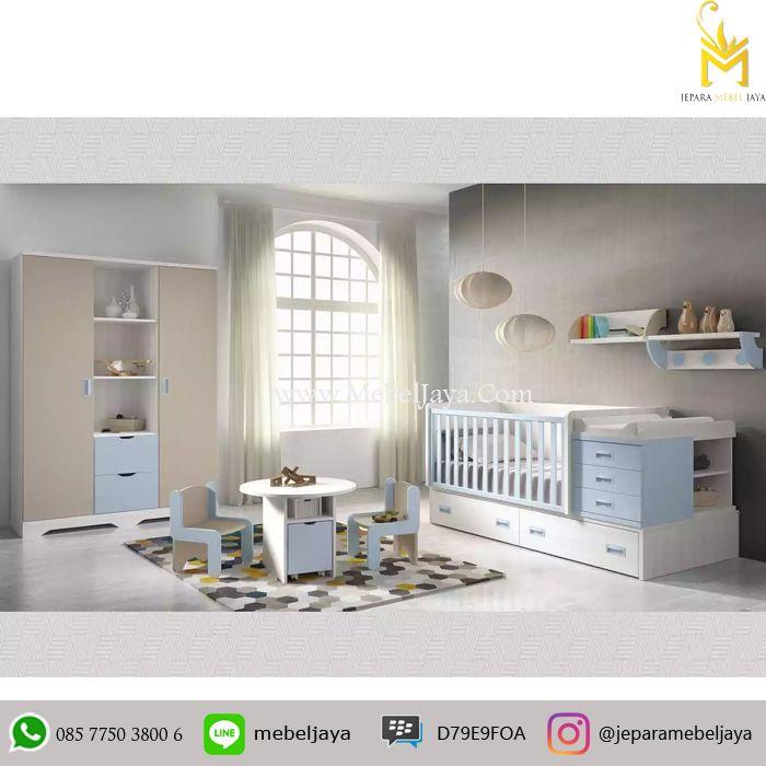 Tempat tidur bayi desain minimalis dan ekonomis dengan bebrapa laci dan lemari untuk menyimpan keperluan baby Anda - Set Box Bayi Minimalis Terbaru Jepara