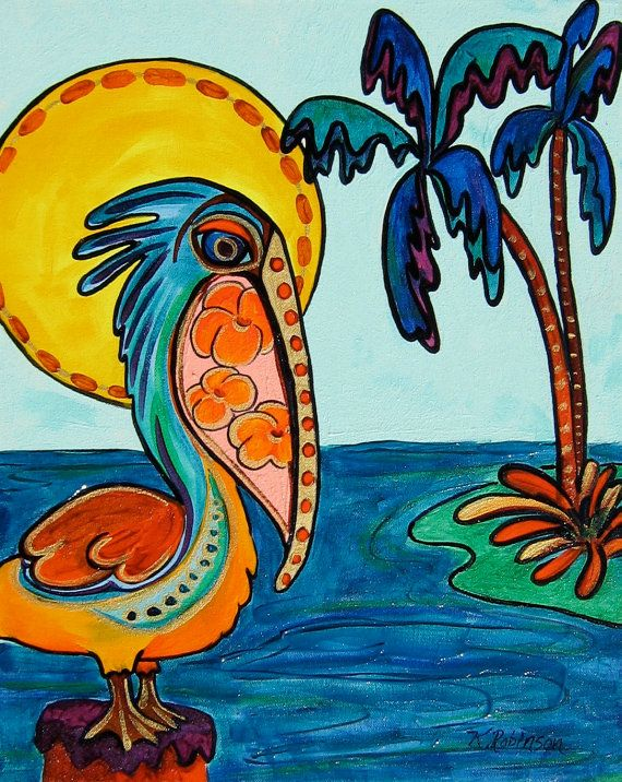 Pelican Bird whimsical colorful Tropical KeROBinson by KeROBinson, $229.00