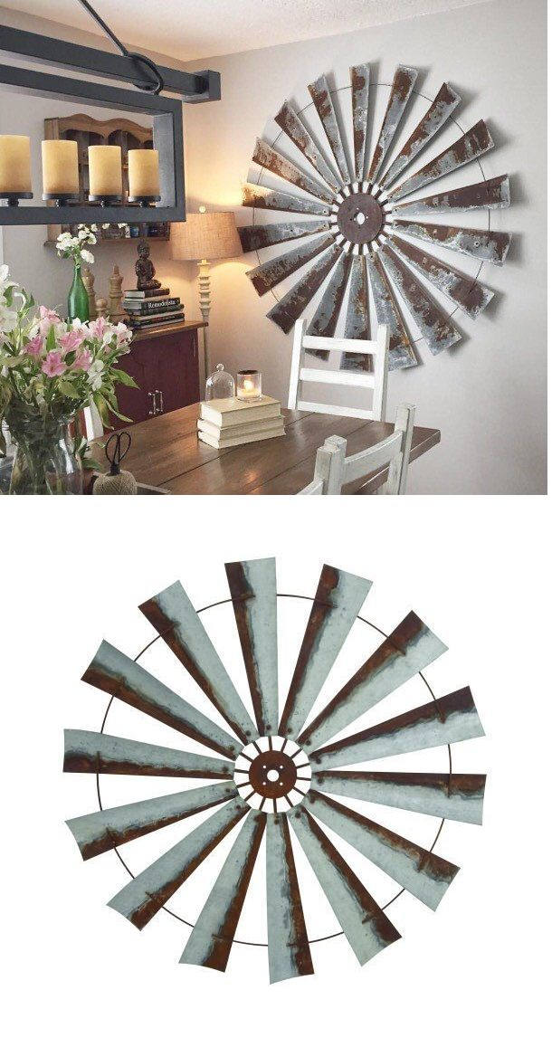 Wall Sculptures 166729: 48 Rustic Metal Windmill Head Fan Antique Barn Farmhouse Wall Decor New -> BUY IT NOW ONLY: $299.99 on eBay!