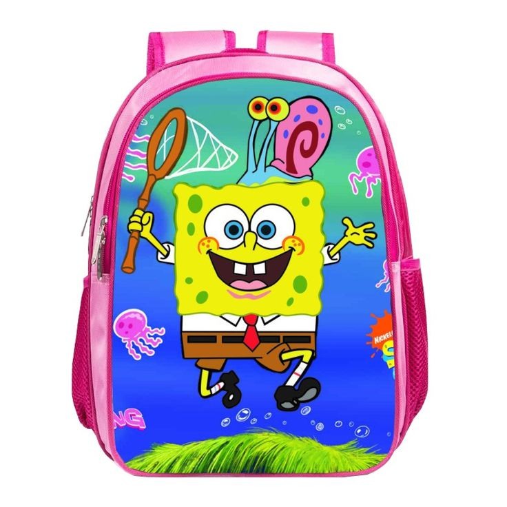 Impertex Fabric School Backpack with Sponge Bob PVC Printing