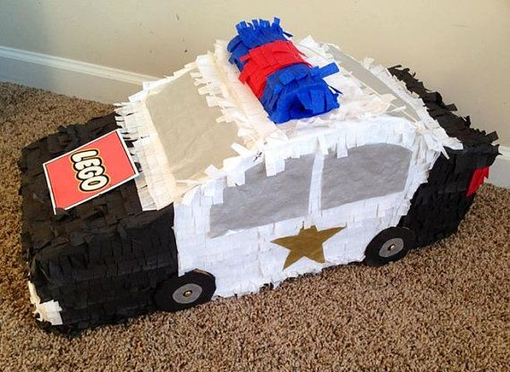 Lego Police Car Piñata - Email pinatasplus@gmail.com for your own custom made piñata! Or shop on Etsy: https://www.etsy.com/listing/171199401/lego-police-car-pinata?