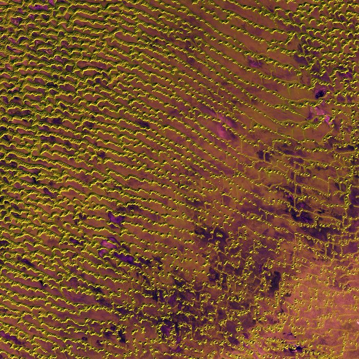 Rolling sand dunes in the expansive Rub' al Khali desert on the southern Arabian Peninsula are pictured in this image from the Sentinel-2A satellite.Space in Images - 2016 - 05 - Rub al Khali
