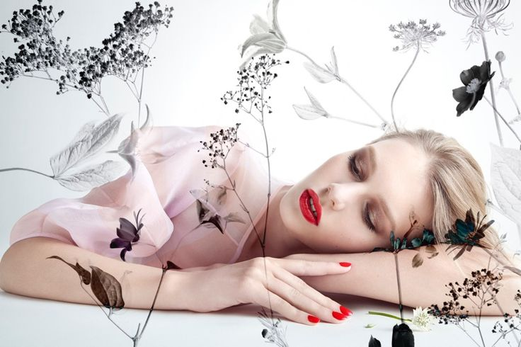 Sofia Mechetner appears in Dior Magazine, wearing a red lip and matching manicure