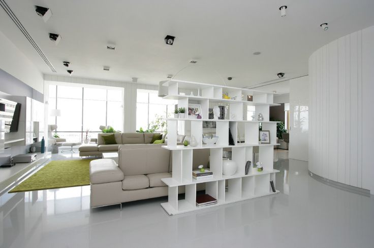 Apartments:Modern Living Rooms Yellowish Green Carpet Also Cushions Modern Sofas Modern Tv Stand Modern Shelves With White Marble Flooring Also Large Windows Glowing White Interior Design Ideas For Modern Apartment Living Room Ideas Glowing white Interior Design Ideas for Modern Apartment Living Room Ideas