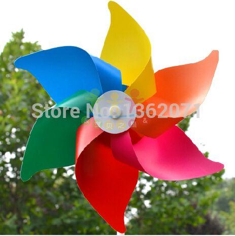 Gros 40 pcs garçons et filles enfants vent coloré pas cher en plastique moulin classique jouets bricolage de tige solide moulin livraison gratuite(China (Mainland))