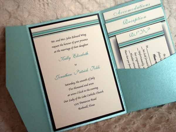Awesome wedding invitation includes accommodation info for out of town guests, reception info, and a mail back RSVP card. I really love this!