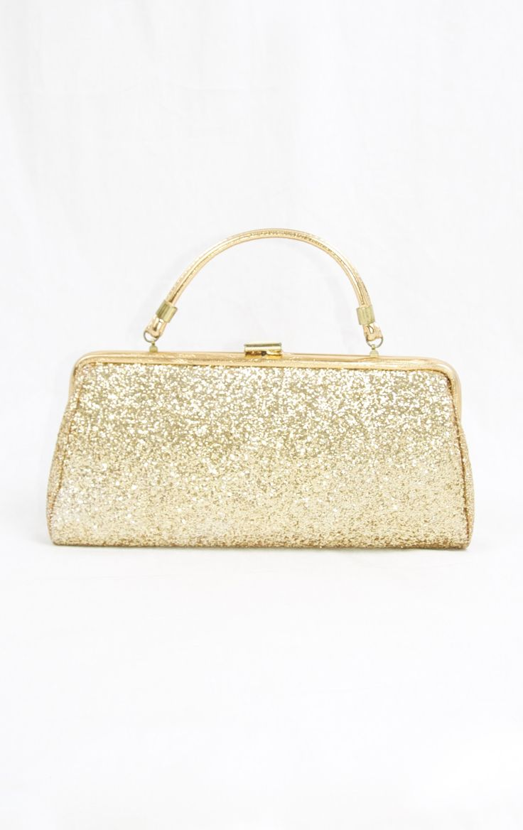 Sparkle Glitter Gold Purse, Vintage 60's Purse, at http://ptbchic.com/collections/purses/products/all-that-glitters-is-a-gold-purse
