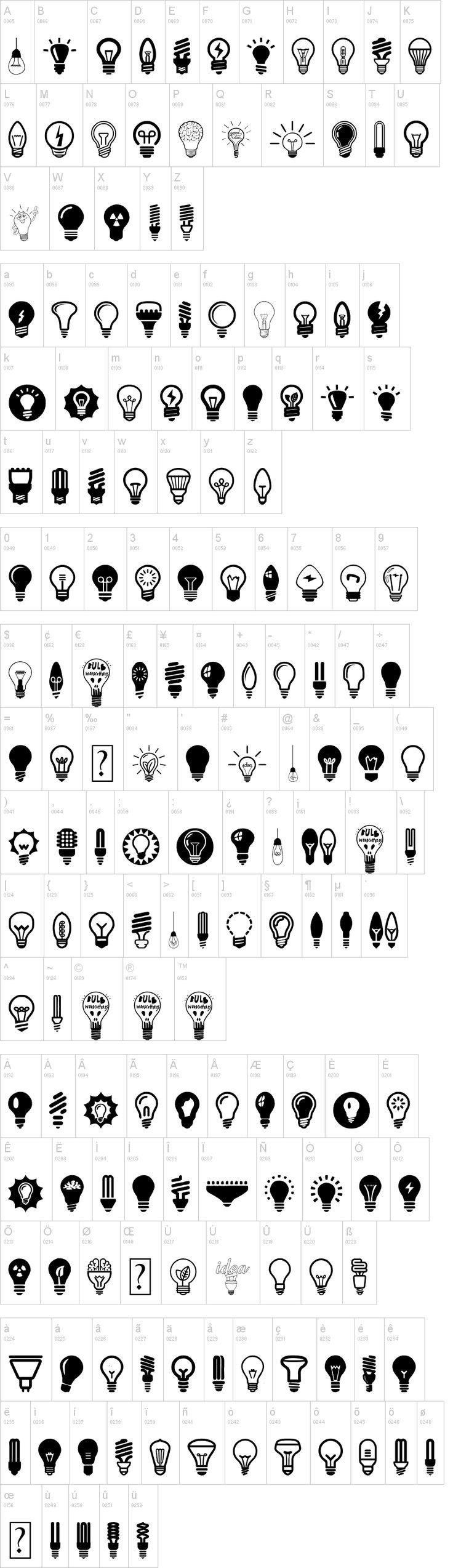 Bulbs Font Lightbulb tattoo, Light icon