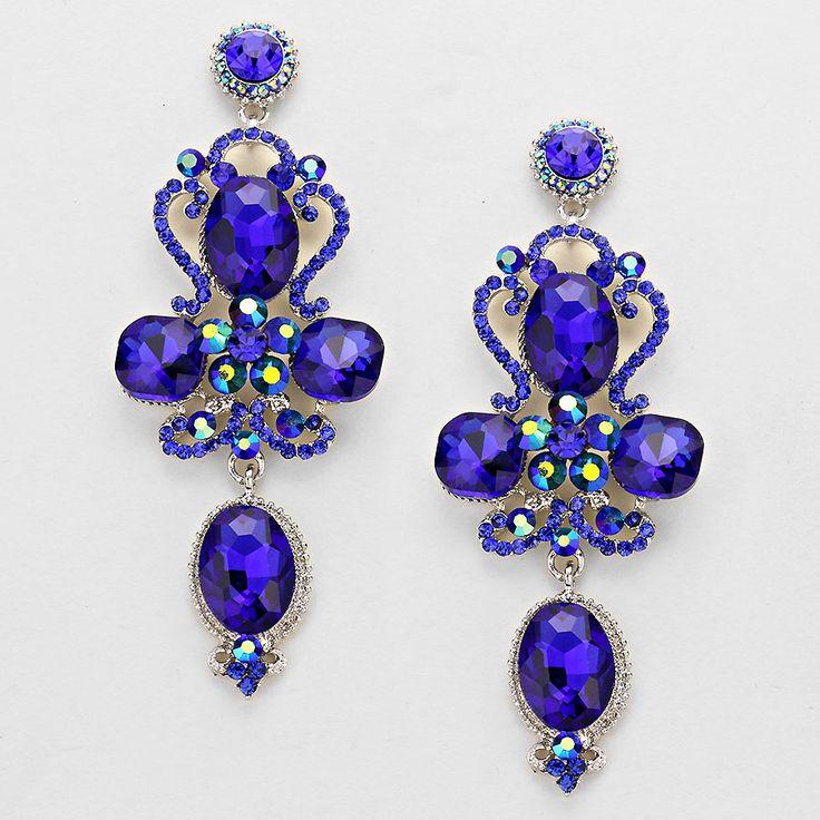 Royal Blue Floral Teardrop Earring  Pageant earring, prom earrings.  Pageant jewellery.   www.thebelleoftheballboutique.co.uk