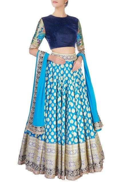 Blue brocade lehenga set