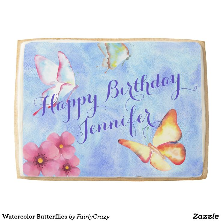 Watercolor Butterflies Birthday Party Giant Shortbread Cookie - personalize the name. #yummy #partyfood #yummypartyfood #beautifulpartyfood