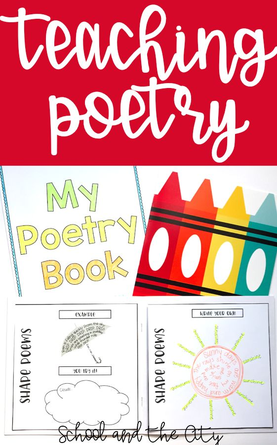 Use this book as a tool to teach your students poetry!  Types of poems included: - acrostic - shape - haiku - personification - diamante (synonym and antonym)  This product includes an example, a scaffolded prompt (You Try It!), and a blank space (Write Your Own) for each type of poem.