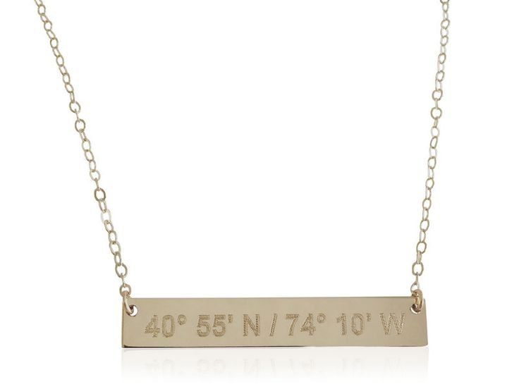 Lat & Lo Bar Necklace. Inscribe the coordinates of your favorite travels.