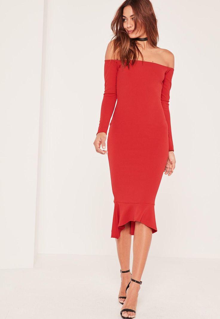 Missguided - Red Bardot Fishtail Hem Dress