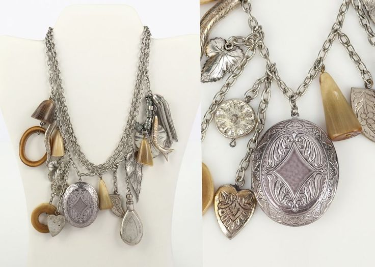 120 best vintage and costume jewelry images on pinterest costume vtg 80s adolf silver 3 chain chunky charms locket horn perfume pendant necklace mozeypictures Images