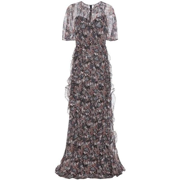 Valentino Butterfly Print Silk Dress (€9.235) ❤ liked on Polyvore featuring dresses, cocktail/gowns, multicoloured, butterfly print dress, multicolored dress, colorful dresses, multi colored dress and butterfly dress
