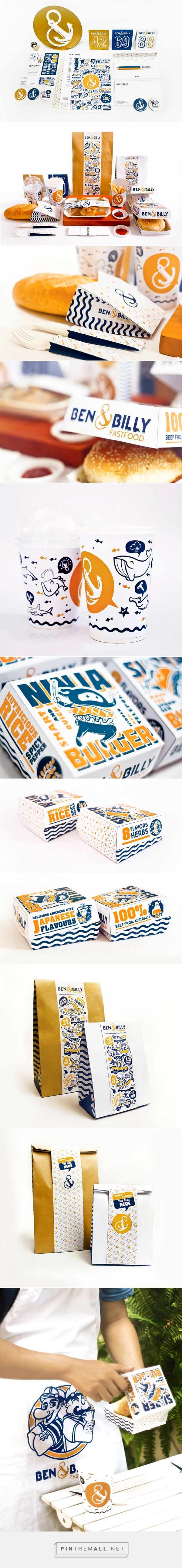 identity / food / restaurant / Ben & Billy on Behance curated by Packaging Diva PD. Lunchtime identity packaging branding. Fast food packaging at it's finest : )