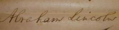 Lincoln signed his name in a variety of ways. Here is just one example:
